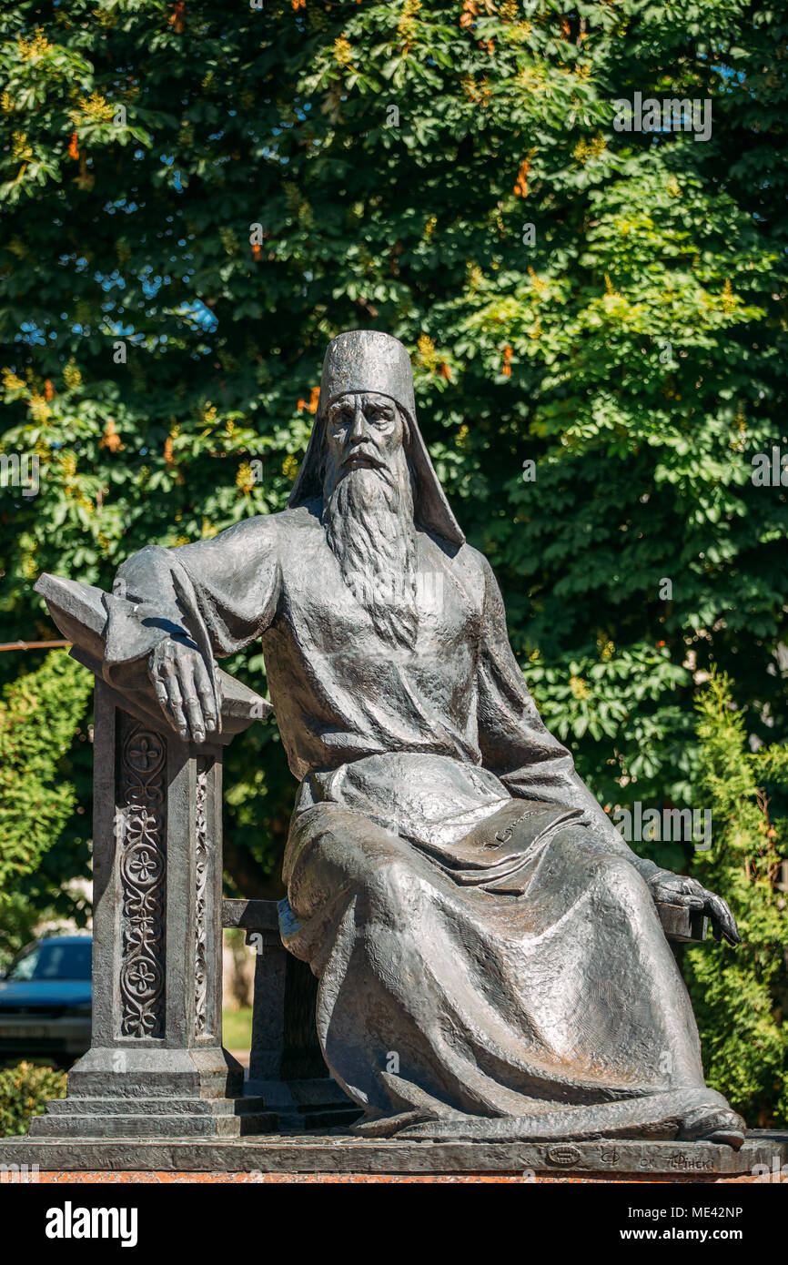 Polotsk, Belarus. Monument To Symeon Of Polotsk, Who Was Activist Of Eastern Slavic Culture, Spiritual Writer, Theologian, Poet, Playwright, Translato - Stock Image