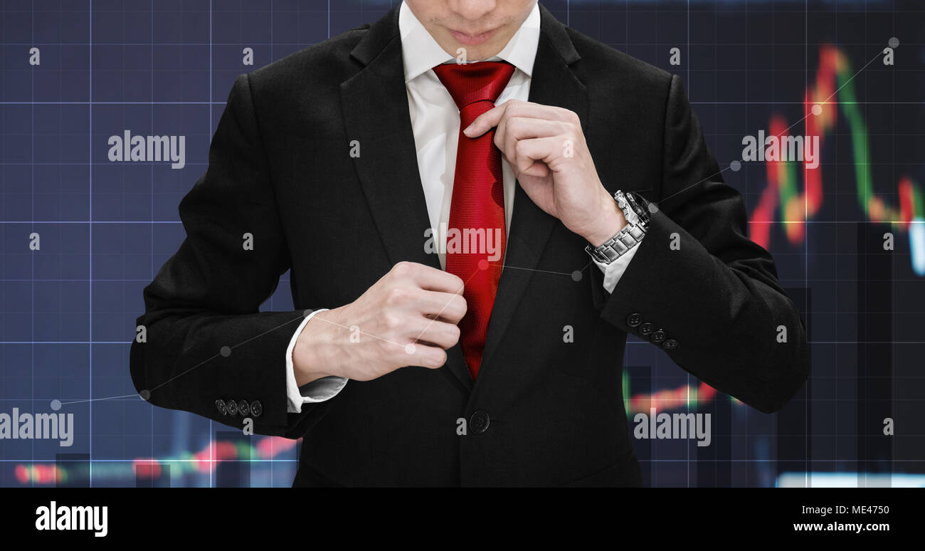 Double exposure businessman tying necktie and raising financial graph. Business growth, investment and stock market - Stock Image