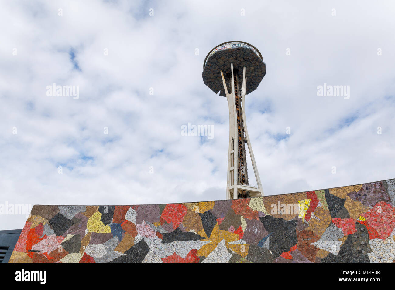 Seattle, Washington - April 9, 2018 : Seattle Space Needle Under Remodeling Construction, which is an observation tower built for the 1962 World Fair Stock Photo