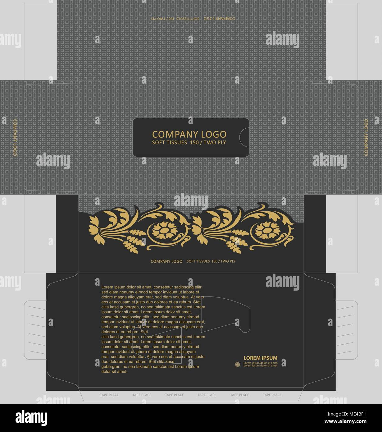Abstract dark gray seamless pattern with vintage golden elements  tissue box concept, template for business purpose, place your text and Logos and rea - Stock Image