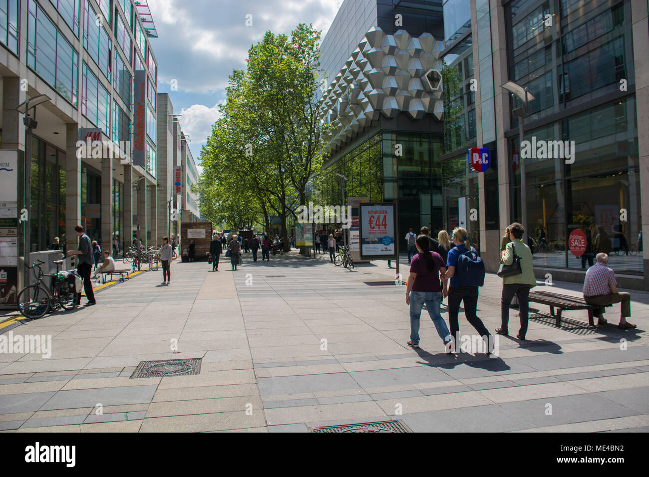 People Walking On Prager Strasse Pedestrian Area Next To Mall Centrum Galerie Dresden Saxony Germany Stock Photo Alamy
