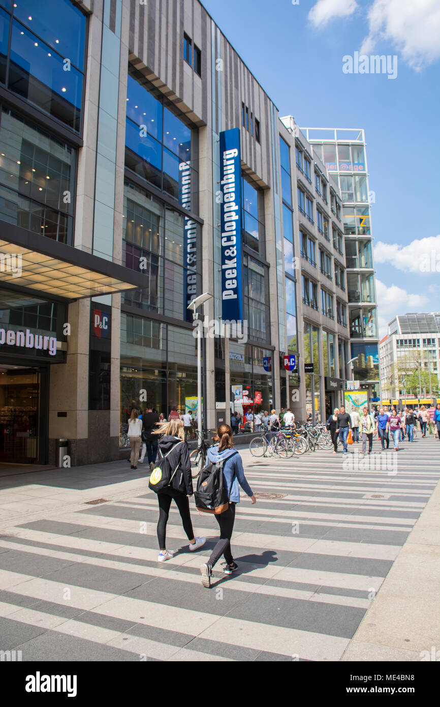 4fb3dc1268 People walking on Prager Strasse pedestrian area next to mall Centrum  Galerie Dresden Saxony Germany -