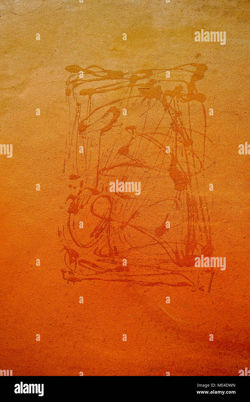 paint on wall - Orange Abstract background - Stock Image
