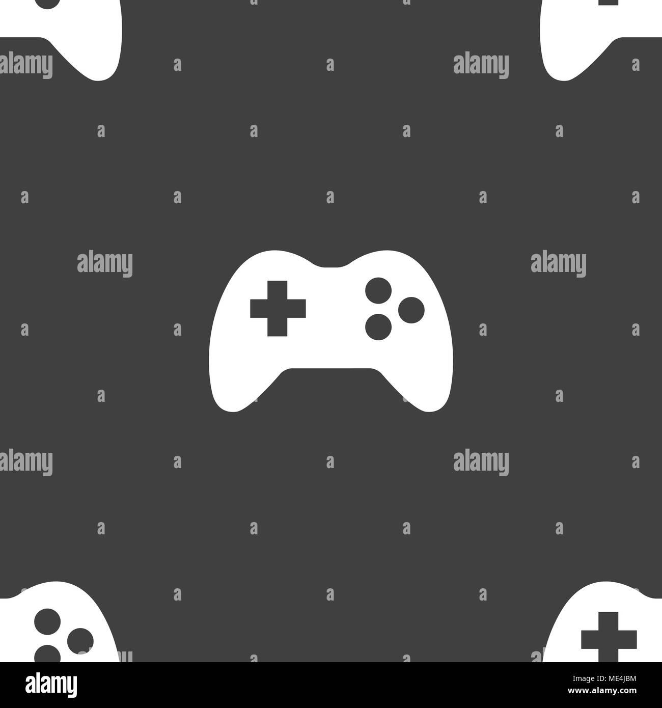 Gaming Joystick web icon. flat design. Seamless pattern. Vector EPS10 - Stock Image