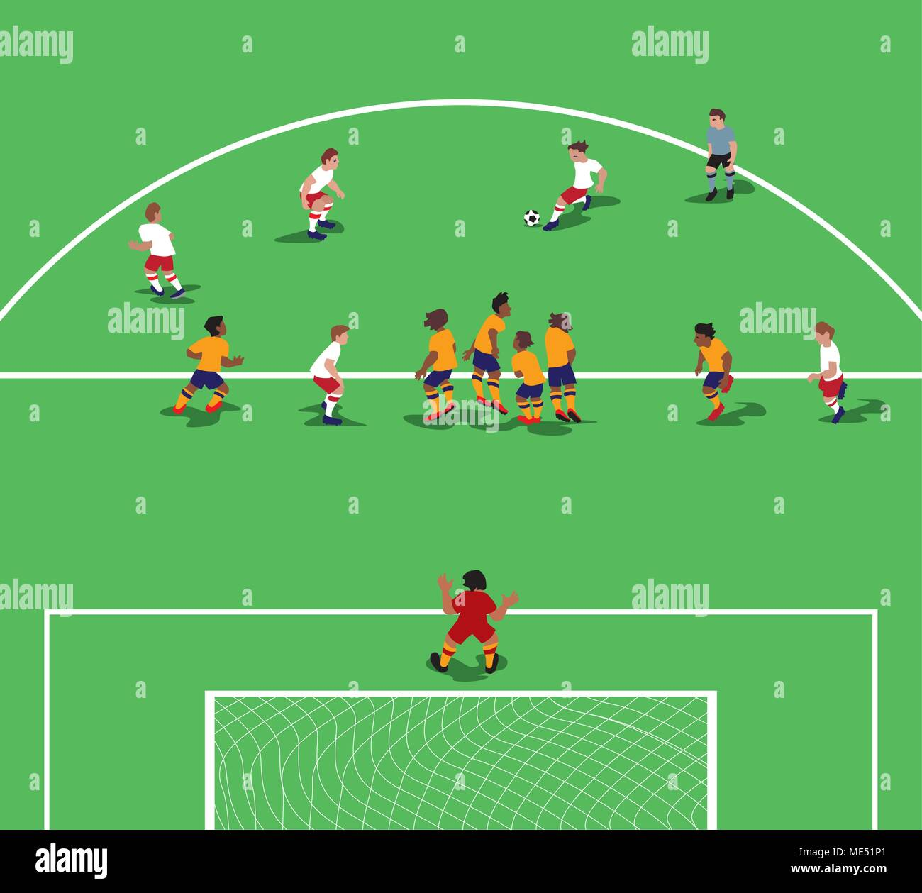 Vector illustration of Soccer wall. Free kick situation in flat design. - Stock Vector