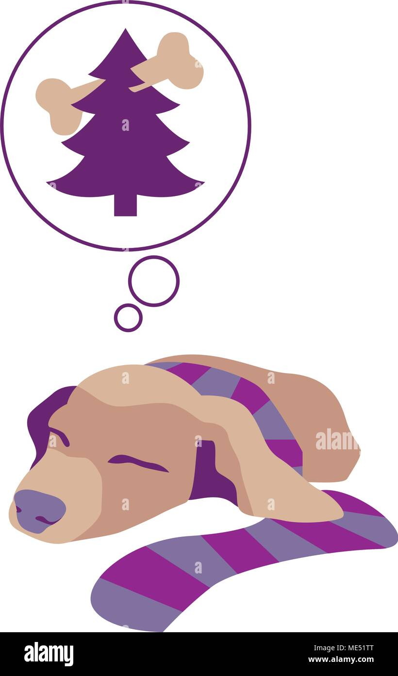 Vector Illustration of the dog dreams of Christmas gifts at fir tree. - Stock Image