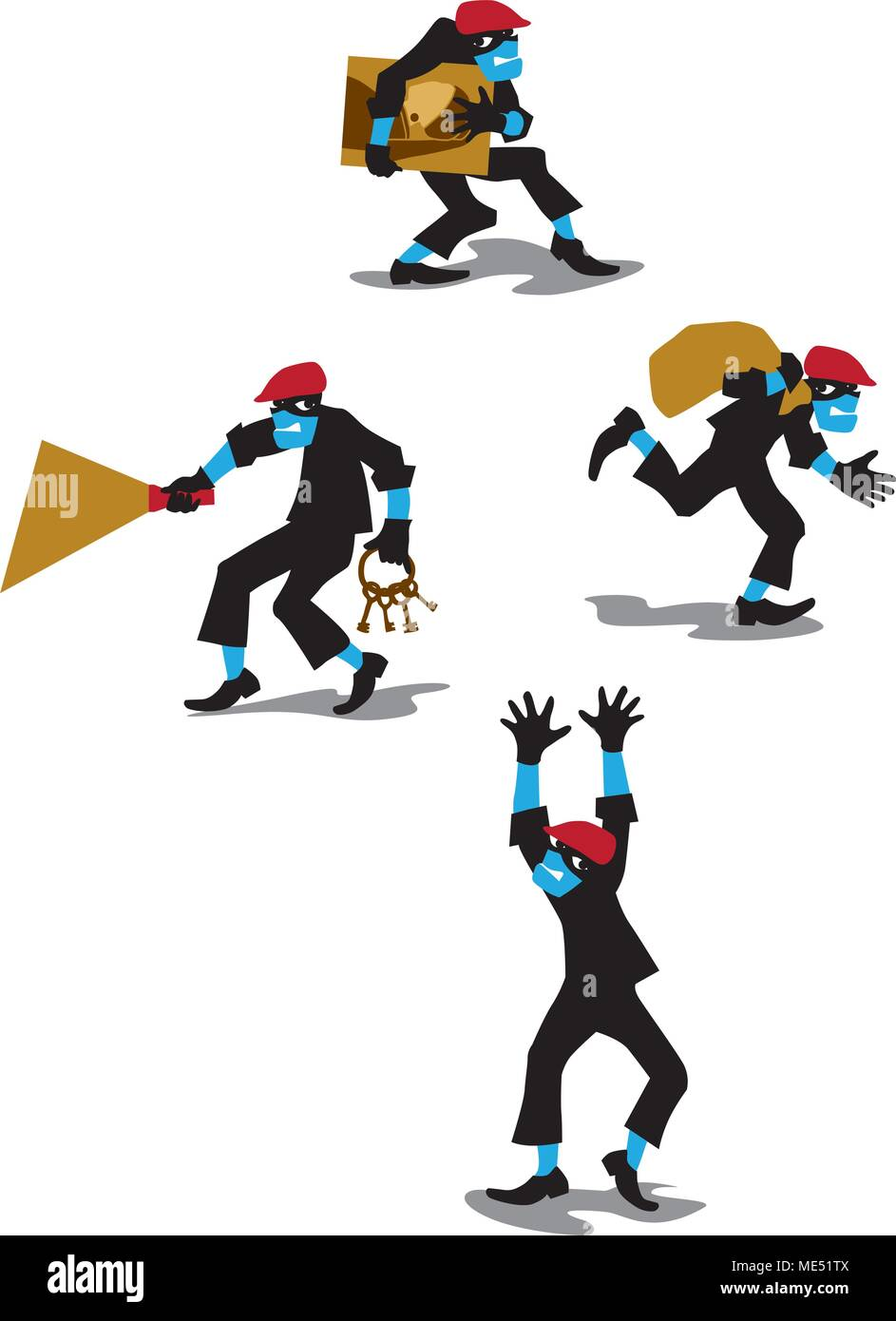 Vector illustration of sneaking thief in flat style. Characters set with picture, keys and prey. - Stock Vector