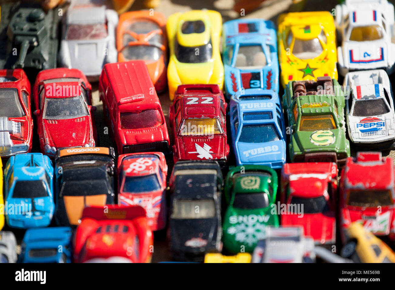 Old toy cars for sale at a vintage fair England UK GB - Stock Image
