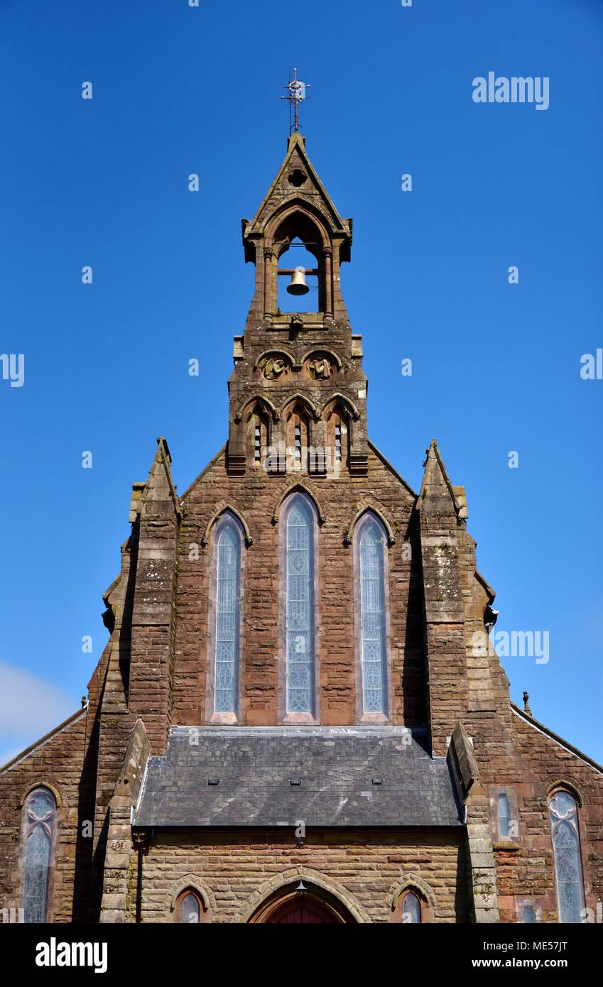 Detail of West front. Church of Saint Mary (Roman Catholic). Cleator, Cumbria, England, United Kingdom, Europe. - Stock Image