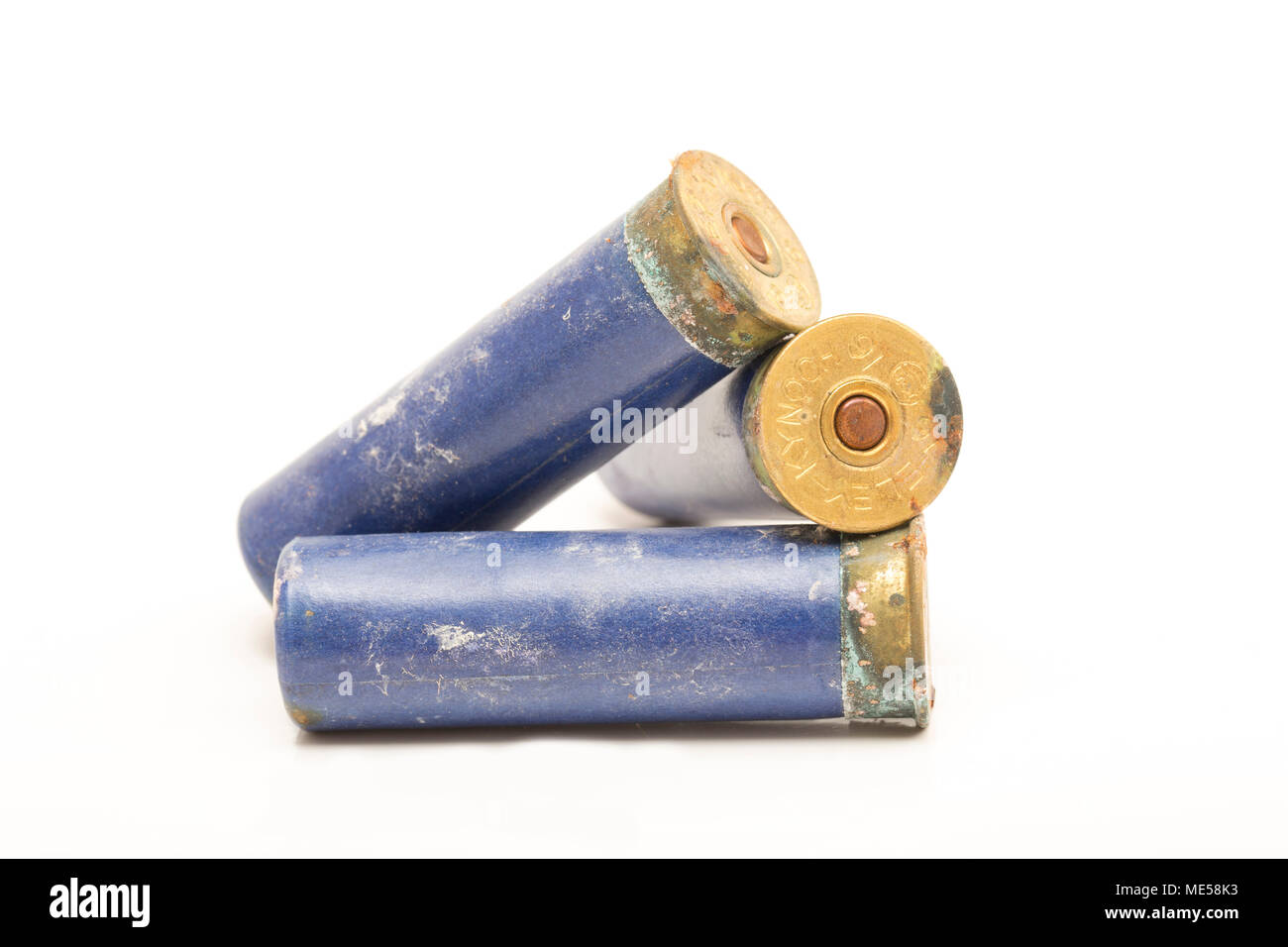 Old Eley-Kynoch 16-bore paper cased shotgun cartridges that have been left in damp conditions and have started to corrode. England UK GB - Stock Image