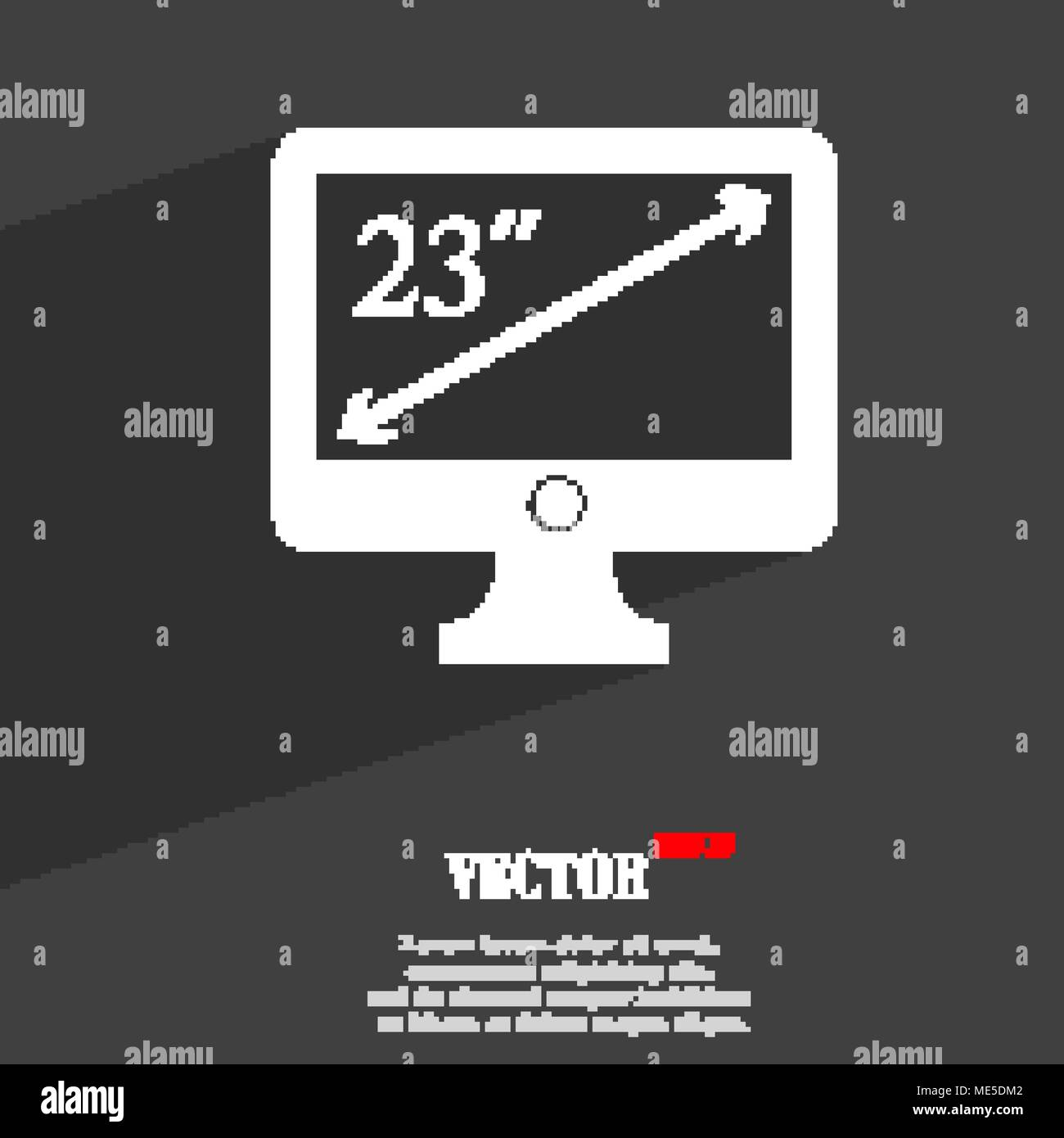 diagonal of the monitor 23 inches  icon symbol Flat modern web design with long shadow and space for your text. Vector illustration - Stock Vector