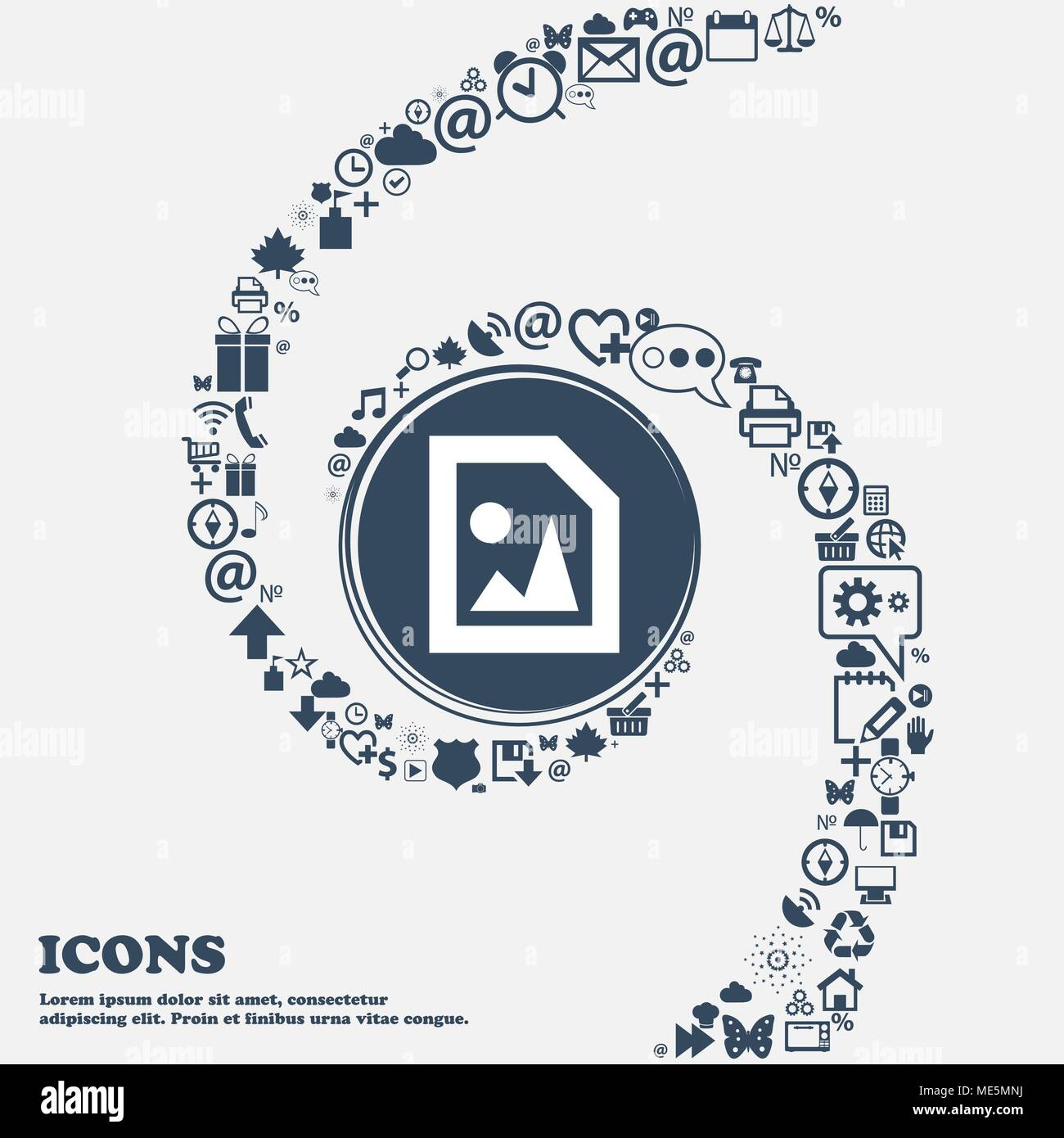 File JPG icon sign in the center. Around the many beautiful symbols twisted in a spiral. You can use each separately for your design. Vector illustrat - Stock Vector