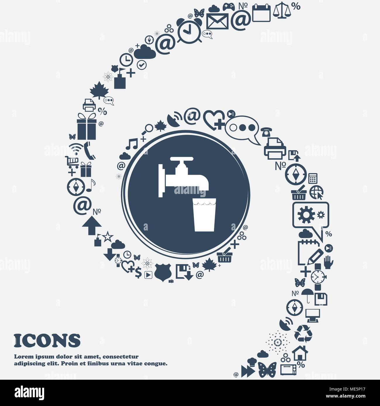 faucet, glass, water icon sign in the center. Around the many beautiful symbols twisted in a spiral. You can use each separately for your design. Vect Stock Vector