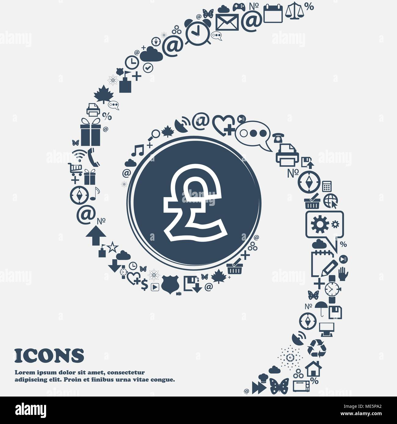 Pound Sterling icon sign in the center. Around the many beautiful symbols twisted in a spiral. You can use each separately for your design. Vector ill - Stock Vector