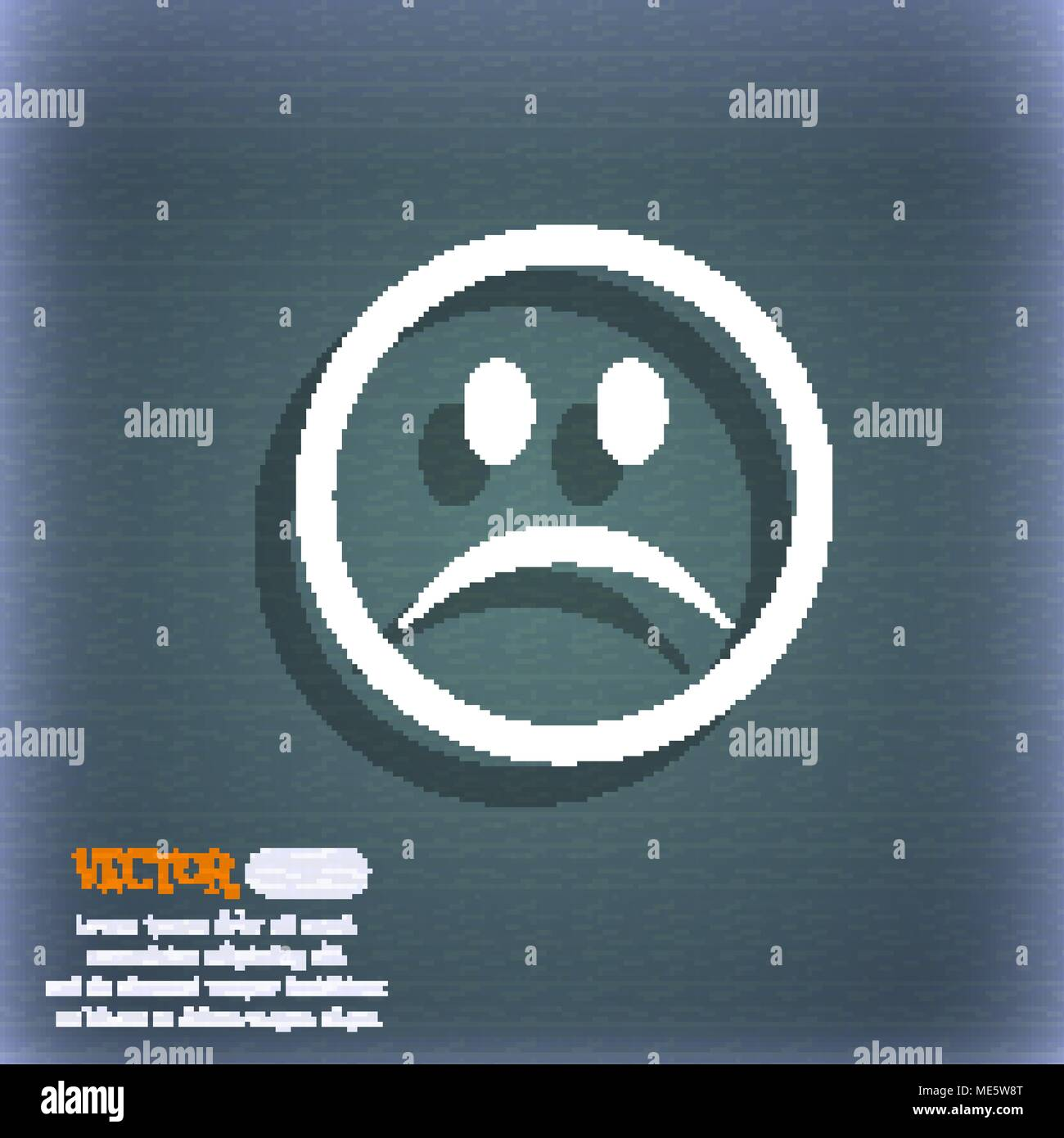 Sad Face Sadness Depression Icon Symbol On The Blue Green Abstract