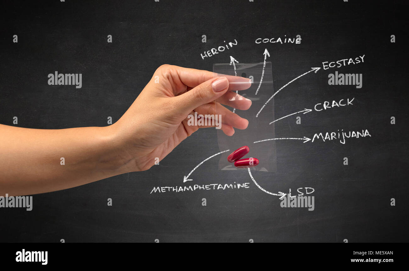 Hand with pills in plastic bag and blackboard wallpaper - Stock Image