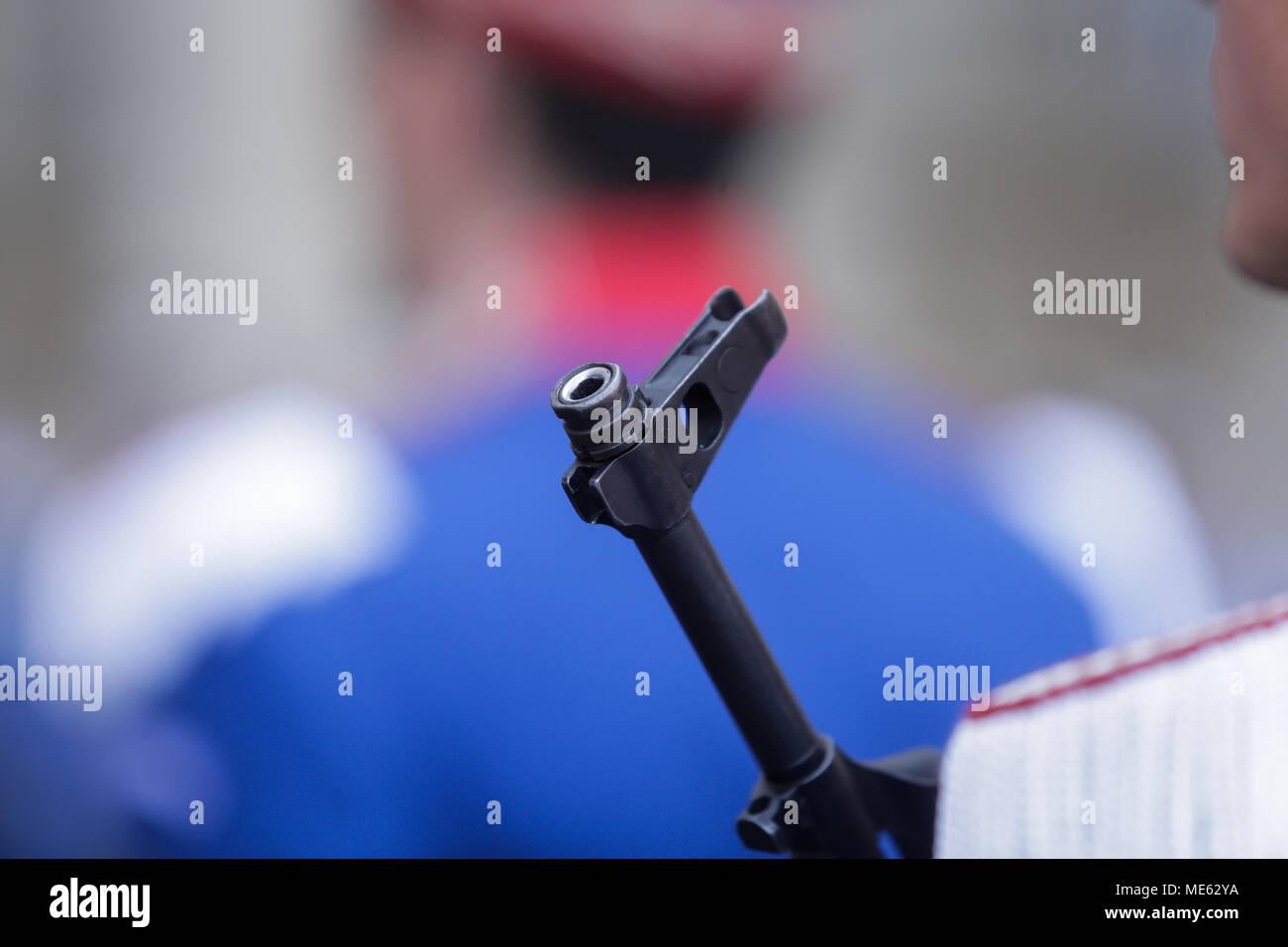 Close-up of a AK47 rifle gun barrel - Stock Image