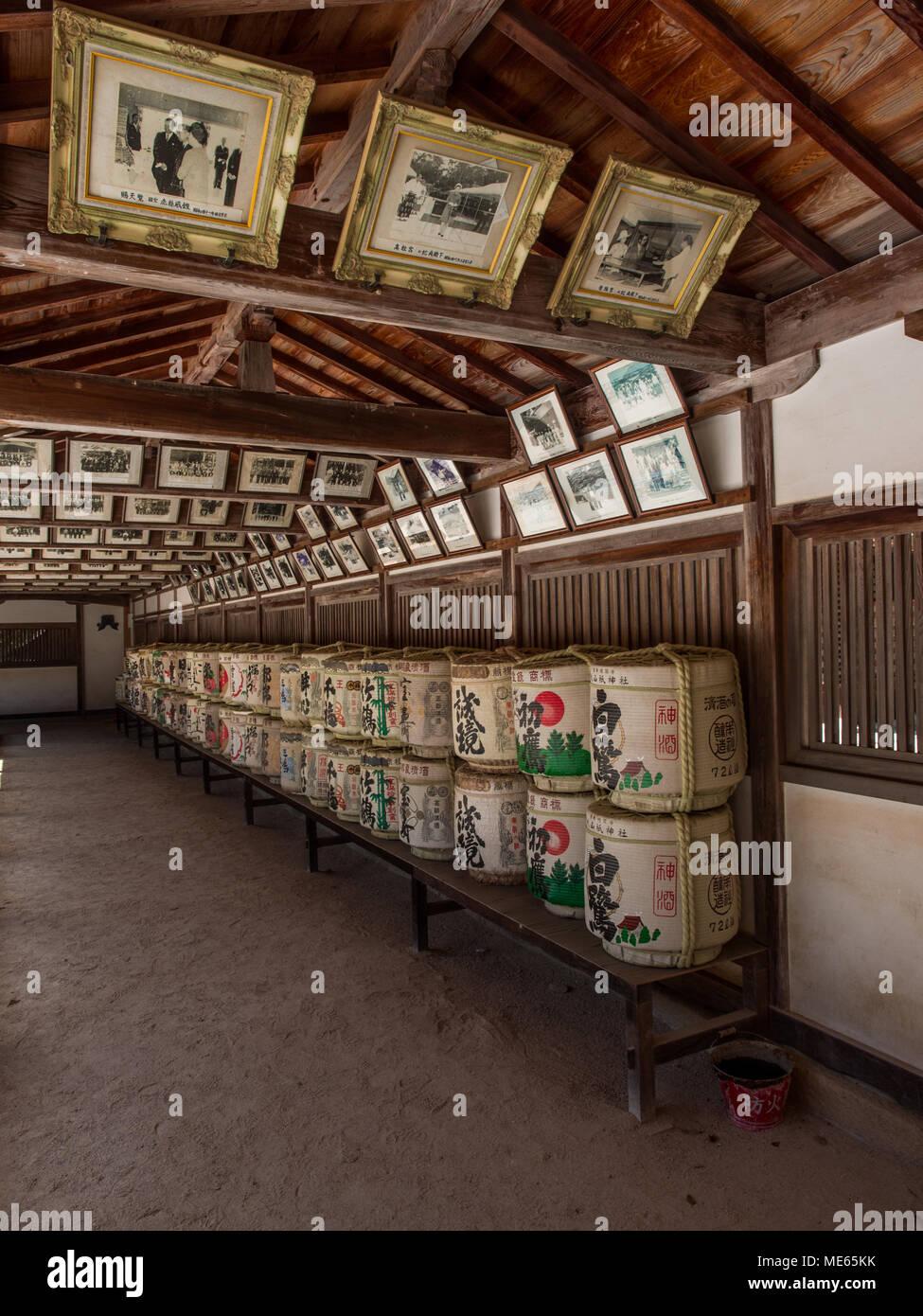Photograps of Japanese imperial family and other important visitors to Ōyamazumi Shrine Ōmishima,  Seto Inland Sea, Japan - Stock Image