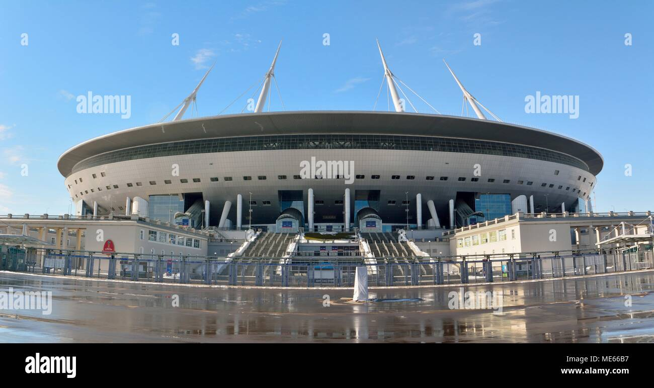 St Petersburg, Russia - March 26, 2018. Exterior view of St Petersburg stadium. - Stock Image