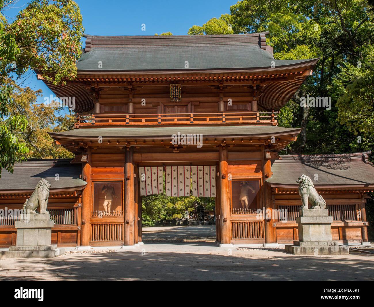Main gate, Ōyamazumi Jinja, , Omishima island,  Seto Inland Sea, Japan - Stock Image