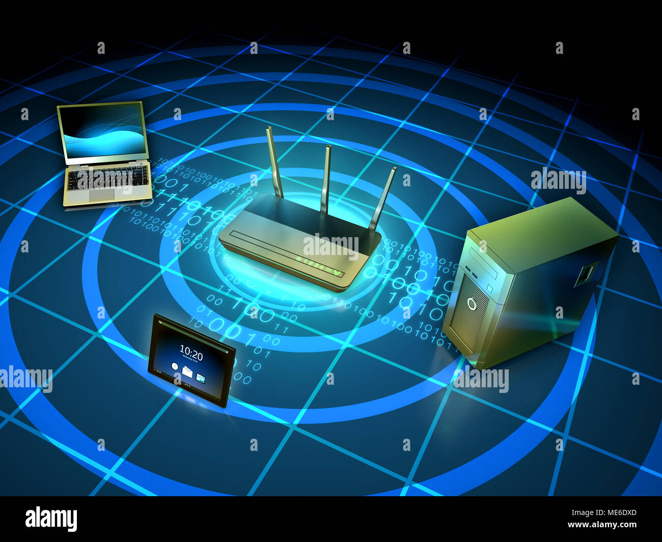 wireless network connecting a laptop workstation and tablet 3d illustration ME6DXD wireless network connecting a laptop, workstation and tablet 3d