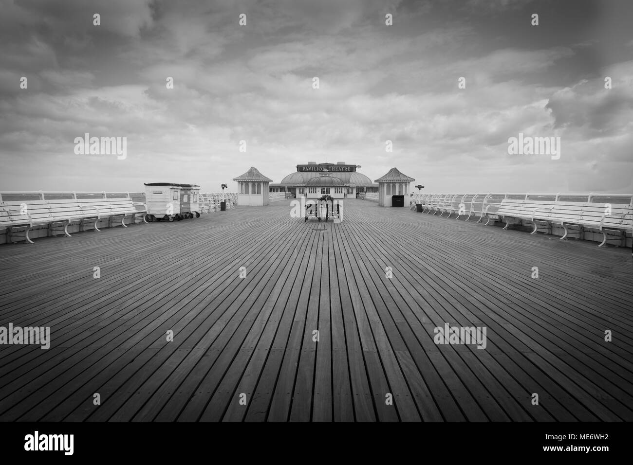 The pier at cromer in norfolk black and white for dramatic effect