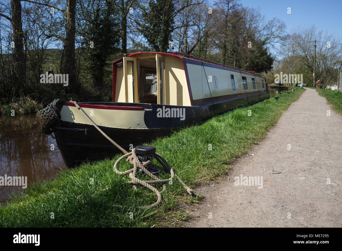 Canal Boat on the Brecon Canal at Talybont on Usk, South Wales - Stock Image