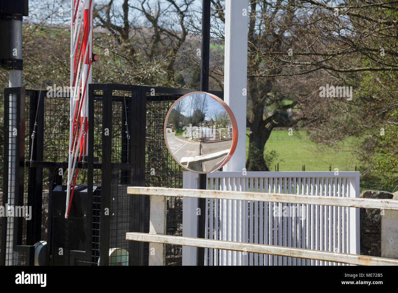 Safety Mirror on the Brecon Canal Bridge at Talybont on Usk, South Wales - Stock Image
