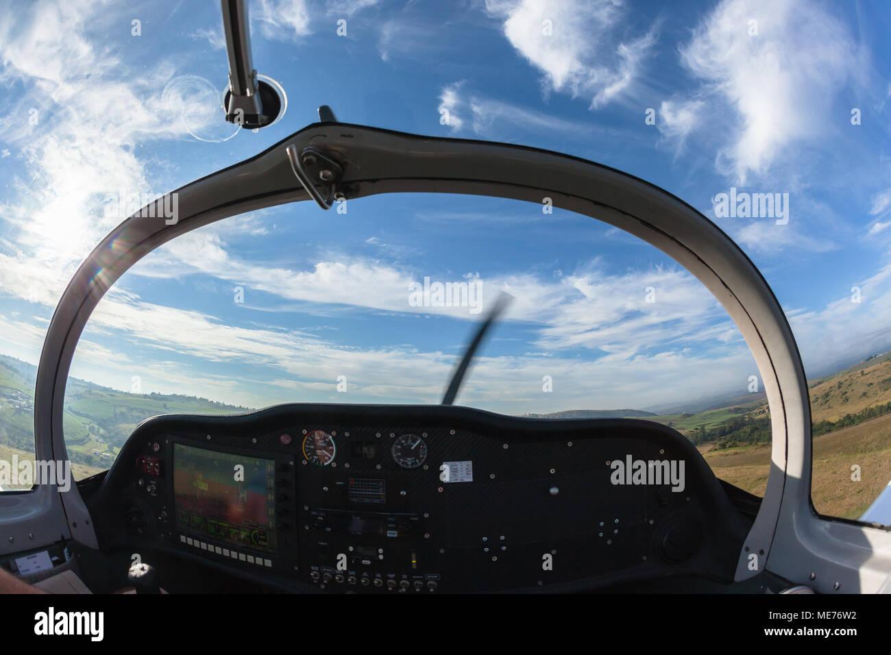 small single prop engine aircraft plane pilot inside out cockpit