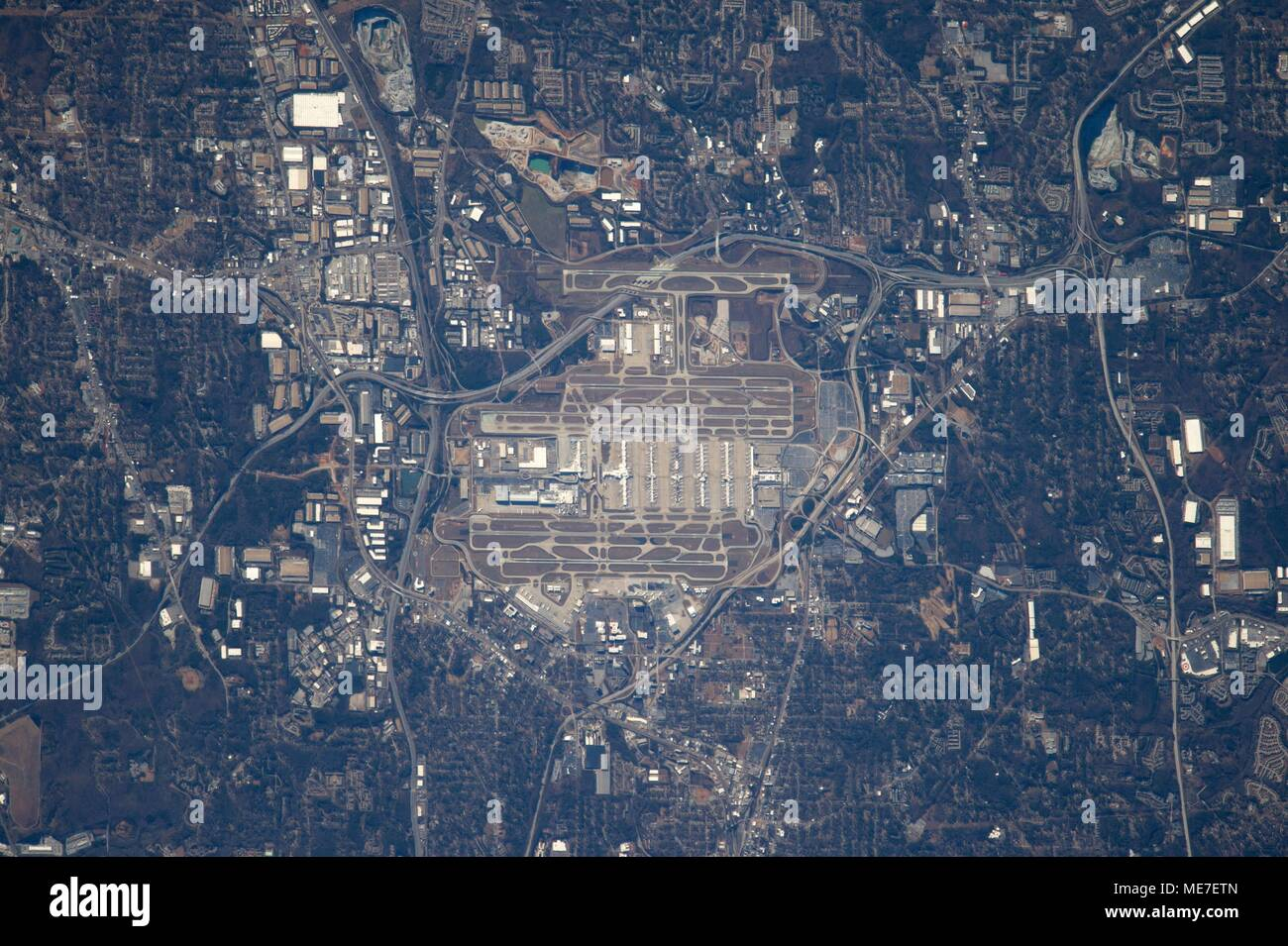 A satellite view of the Hartsfield-Jackson Airport in Atlanta, Georgia as seen from the NASA International Space Station January 28, 2017 in Earth orbit.    (photo by NASA via Planetpix) - Stock Image