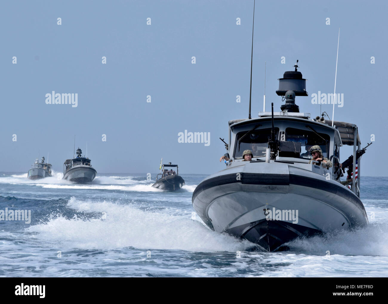 Djiboutian and U.S. Navy sailors motor in formation during navigation training November 13, 2017 in the Gulf of Tadjoura.    (photo by Natalia Murillo via Planetpix) - Stock Image