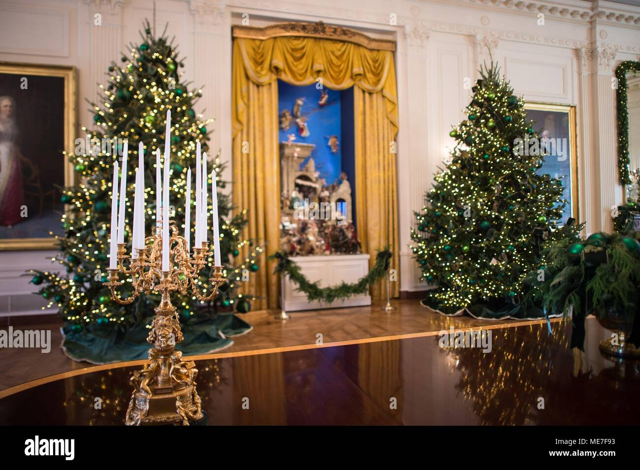 christmas decorations and a nativity scene on display at the white house east room november 29 2017 in washington dc photo by amber r kelly herard via