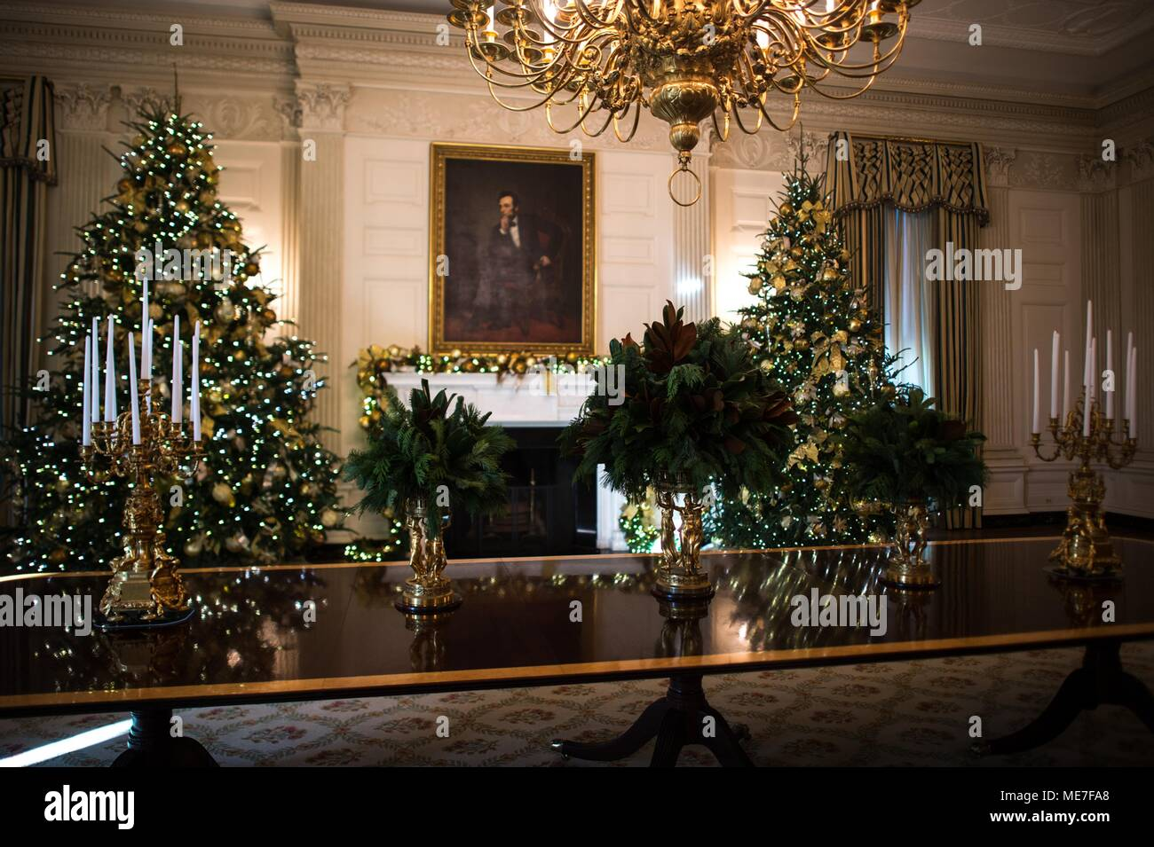 christmas trees and decorations on display at the white house state dining room november 29 2017 in washington dc photo by amber r kelly herard via