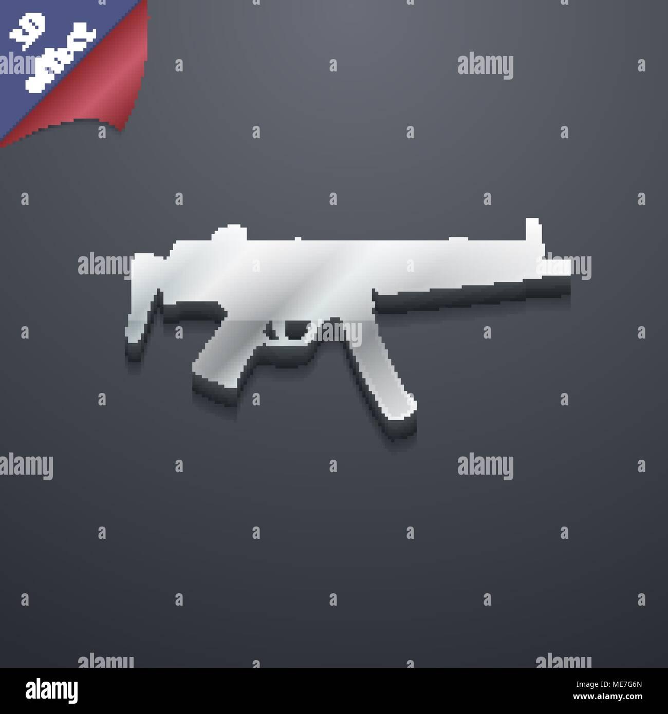 machine gun icon symbol  3D style  Trendy, modern design