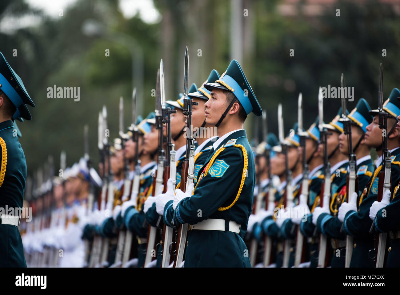 Vietnamese Soldiers Stand At Attention To Greet Us Defense