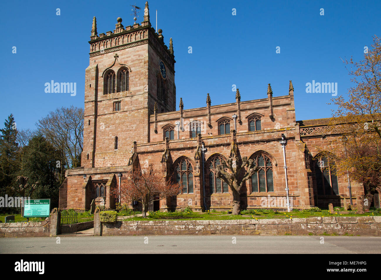 St Mary's church of England parish church at Acton Nantwich Cheshire with blue skies sky it has the tallest tower of any Cheshire church - Stock Image