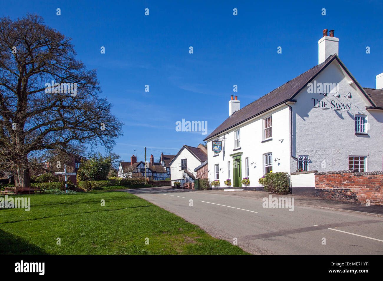 The village green and the Swan inn / public house at the South Cheshire rural countryside village of Marbury with black and white half timbered houses - Stock Image