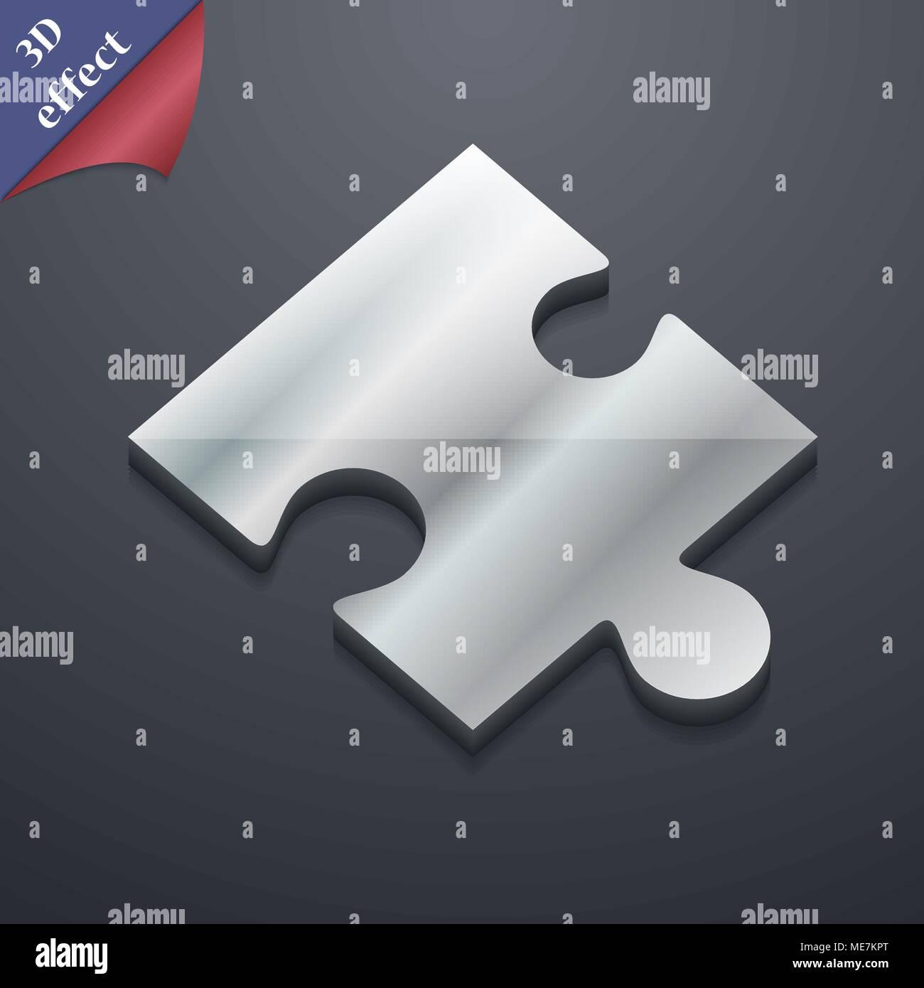 Puzzle piece icon symbol  3D style  Trendy, modern design
