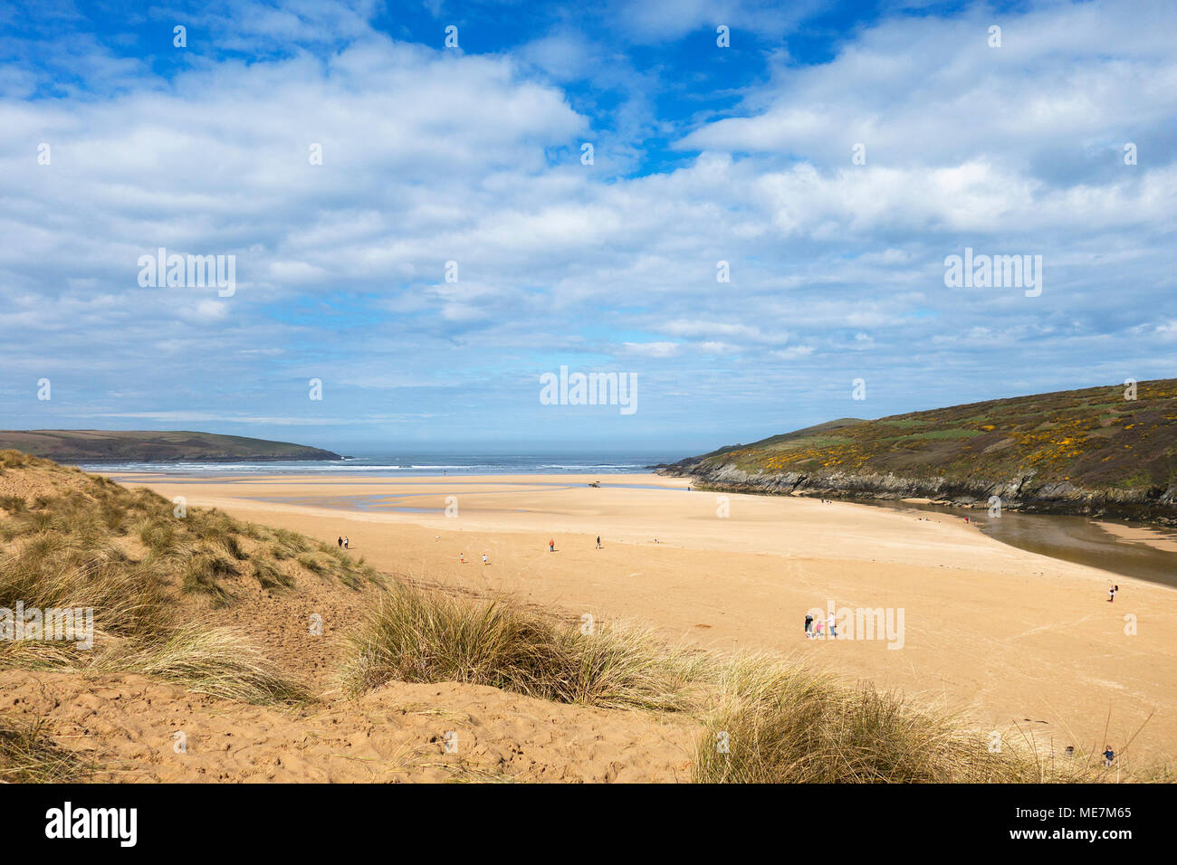 sunny spring weather at crantock beach, cornwall, england, britain, uk. - Stock Image