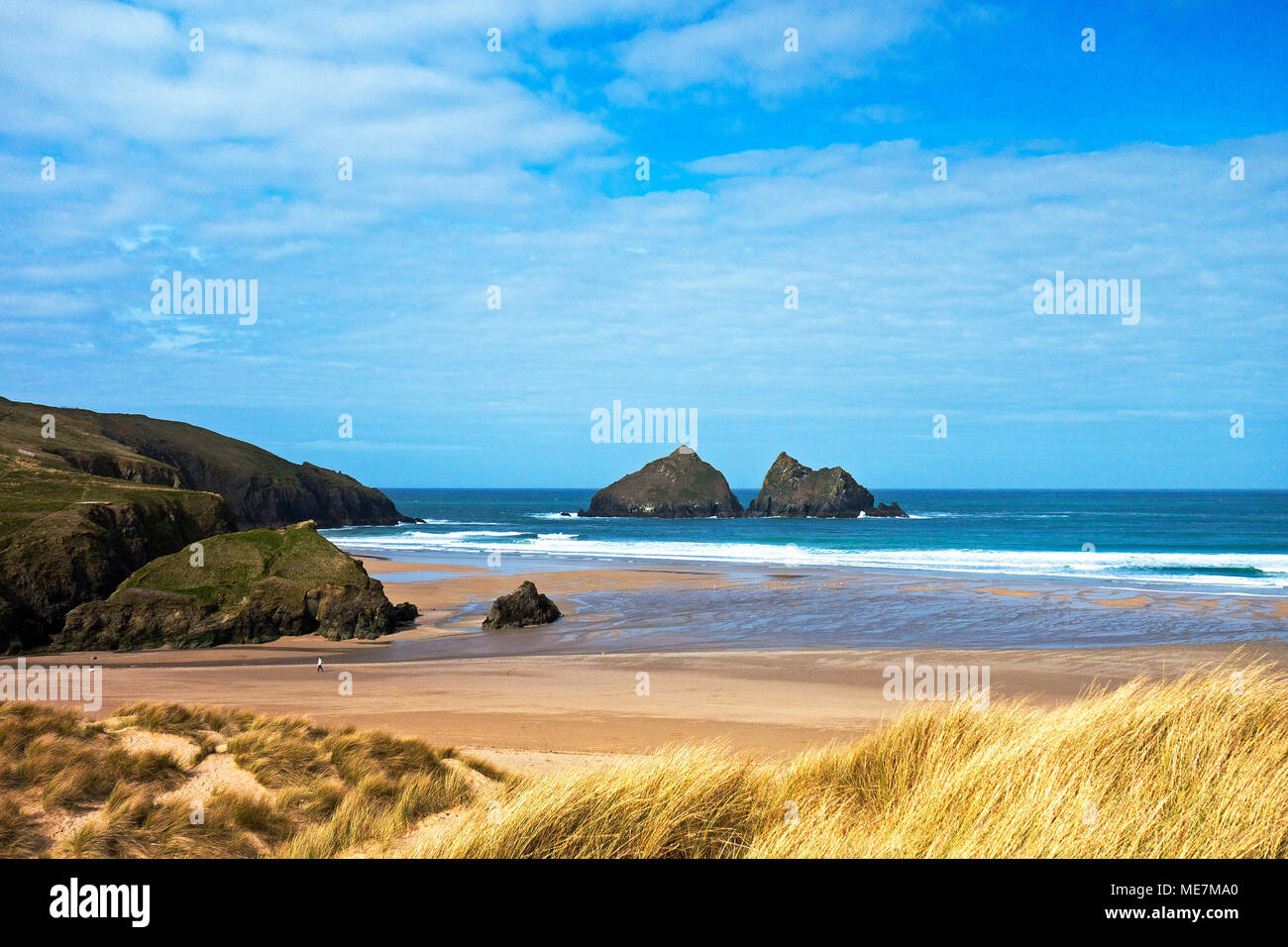 sunny spring weather at holywell bay, cornwall, england, britain,uk. - Stock Image