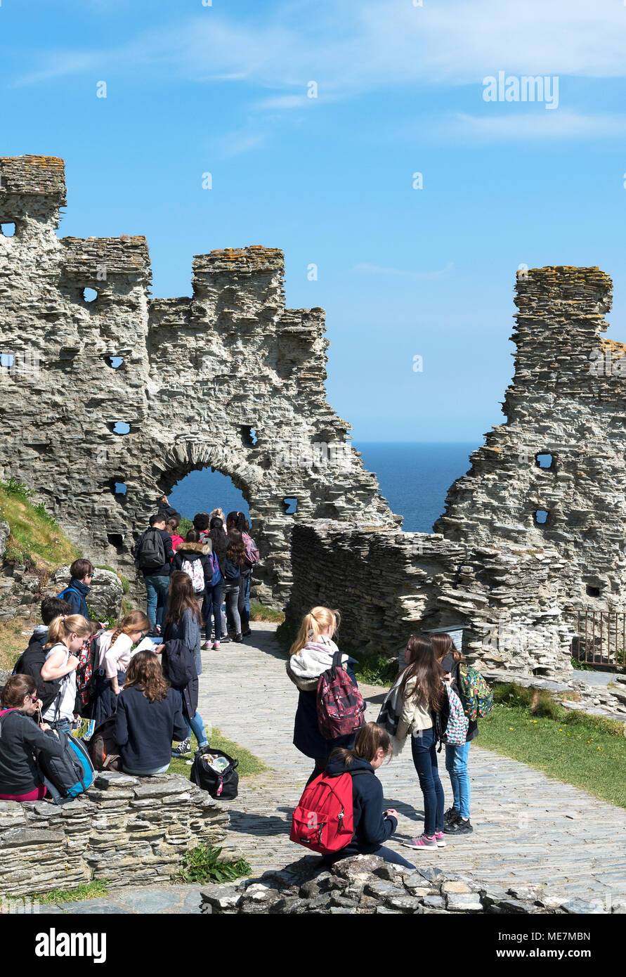 overseas students visitors to tintagel castle in cornwall, england, britain, uk, - Stock Image