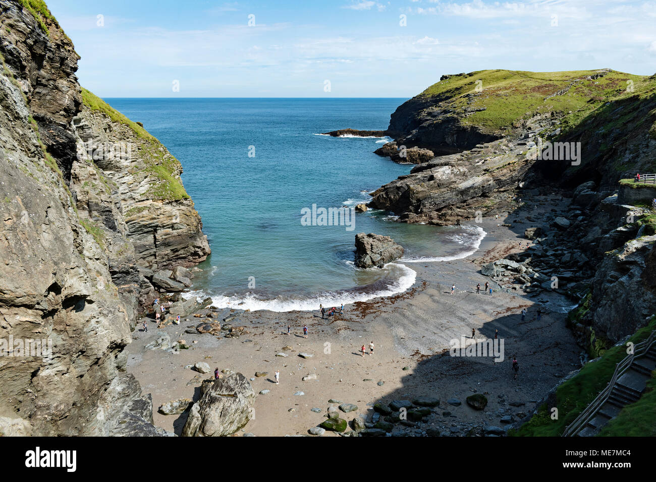 merlins cove at tintagel in north cornwall, england, britain, uk. - Stock Image