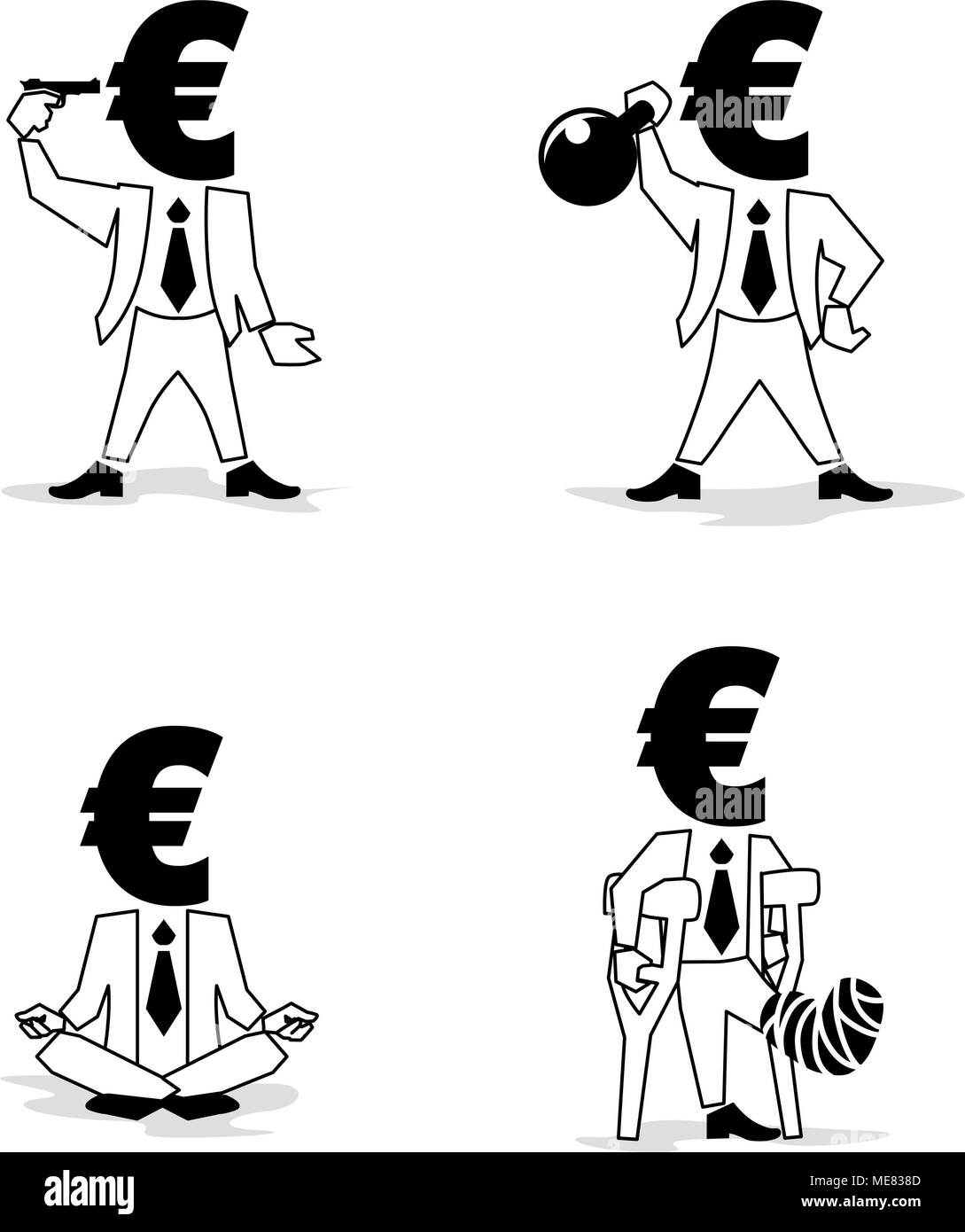 Euro sign, money symbol such as passion Businessman. Euro Coin-Man in different situation. - Stock Image