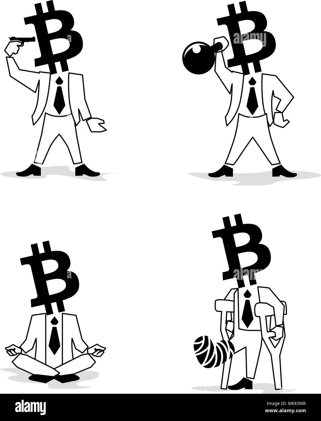 Bitcoin sign, digital currency, cryptocurrency, electronic money such as passion Businessman. - Stock Image