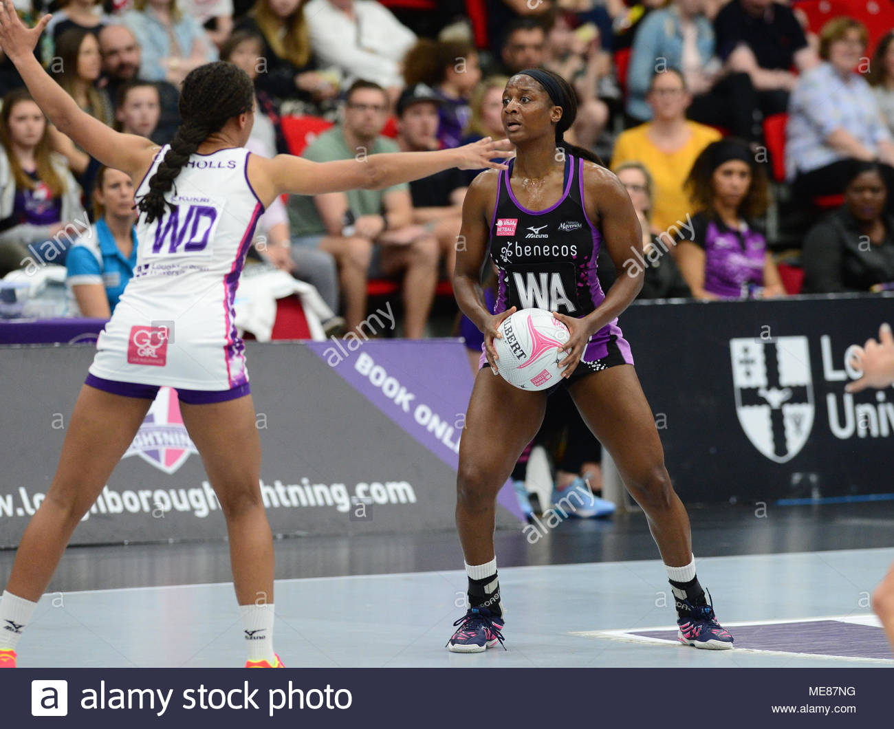 Leicester, UK. 21st April, 2018. Loughborough Lightning's Netball match Vs Mavericks at the Leicester Areana .  Picture Credit: Steve Baker/Alamy Live News - Stock Image