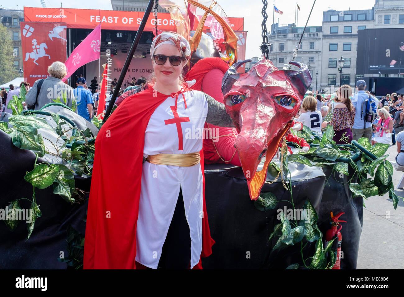London, UK. 21 April 2018. Feast of St. George, patron saint of England celebrated in Trafalgar Square, London, UK - Stock Image