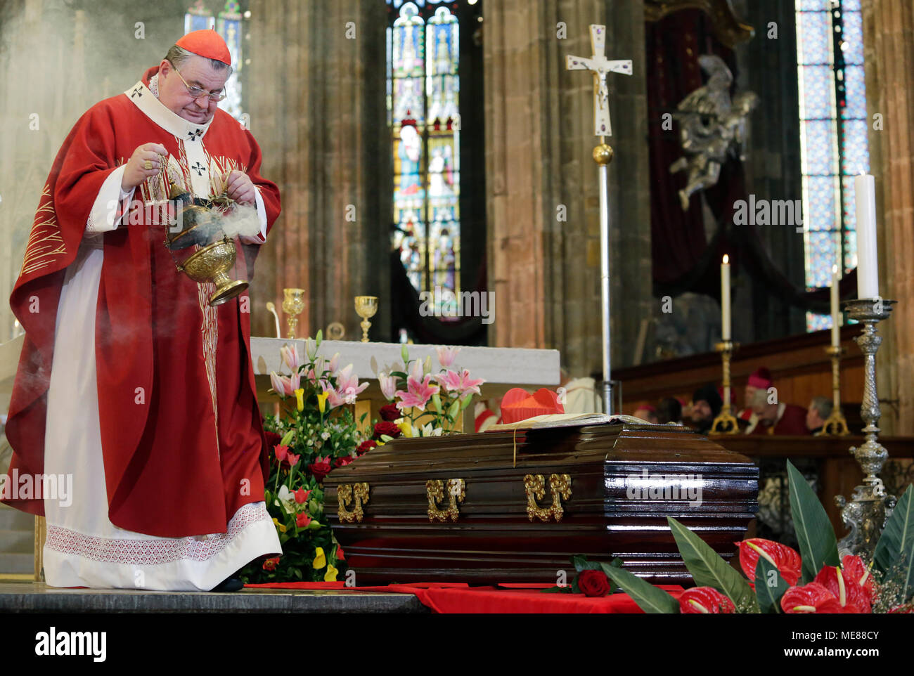 Church dignitaries and hundreds of church-goes paid homage to the memory of Cardinal Josef Beran (1888-1969), who was repatriated from the Vatican after an extended period of exile enforced upon him by the Communist regime, in the Saint Vitus Cathedral in Prague today, on Saturday, April 21, 2018. The mass was served by Prague Archbishop Cardinal Dominik Duka (photo). 'I welcome my glorious predecessor,' Duka said at the opening of the mass. Duka also turned to the current events. He said the moments when Communists despite their electoral defeat were demanding an increasing share of power, we - Stock Image