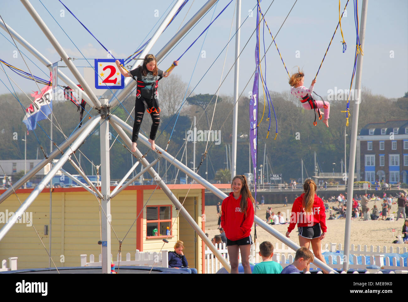 Weymouth, Dorset. 21st April 2018. Children have fun in sunny Weymouth, enjoying an early taste of summer weather Credit: stuart fretwell/Alamy Live News Stock Photo