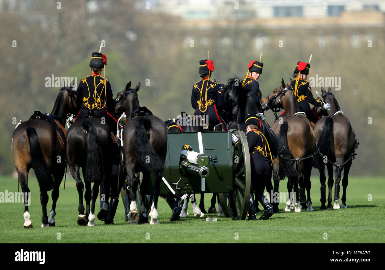 London, UK, 21 April 2018. The guns are ready to return to barracks. A 41-gun salute is fired by the Kings Troop Royal Horse Artillery in Hyde Park today to mark the 92nd birthday of HM Queen Elizabeth II. HM Queen Elizabeth II is Britain's longest serving monarch. Kings Troop Royal Horse Artillery gun salute, Hyde Park, London, on April 21, 2018. Credit: Paul Marriott/Alamy Live News - Stock Image