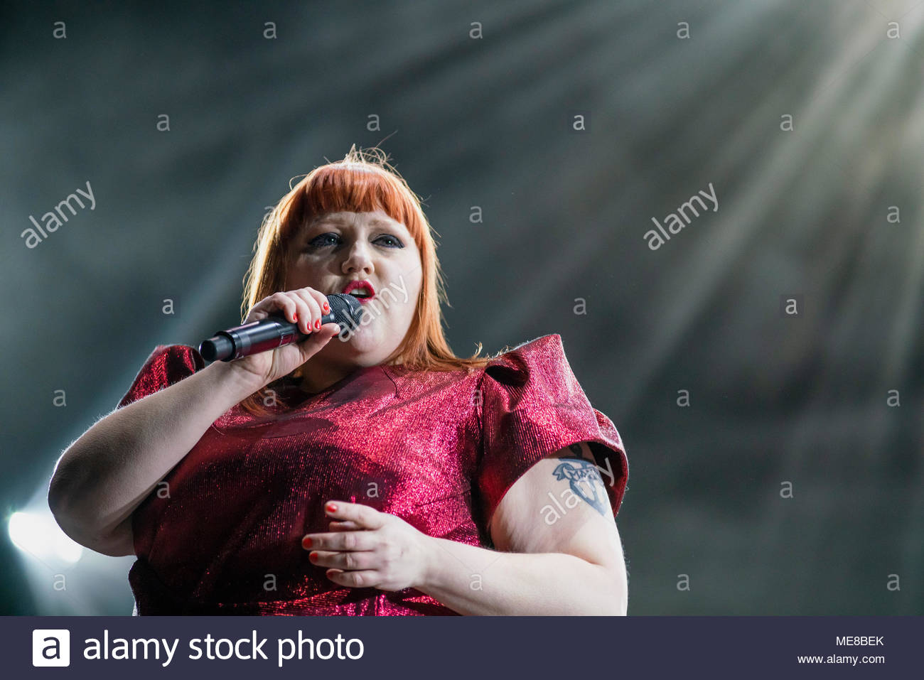 Chamonix, France, 21 April 2018. Beth Ditto performing live at the first edition of MUSILAC Mont-Blanc music festival in Chamonix (France) - 21 April 2018 Credit: Olivier Parent/Alamy Live News Stock Photo